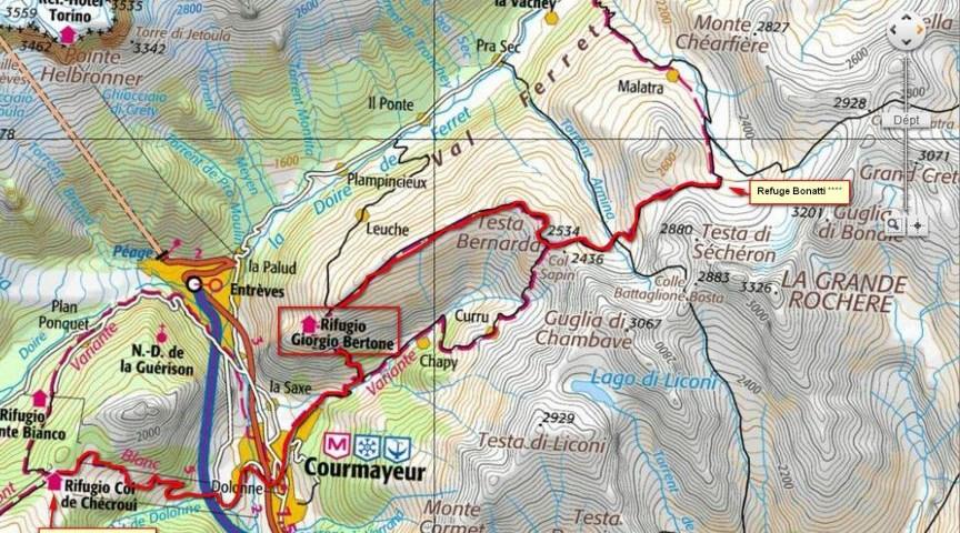 Tour du Mont Blan, карта